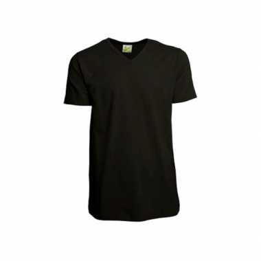 Zwart heren t-shirt v hals