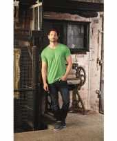 Basic v hals t-shirt vintage washed lime heren