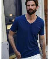 Indigo blauw stretch shirt v hals